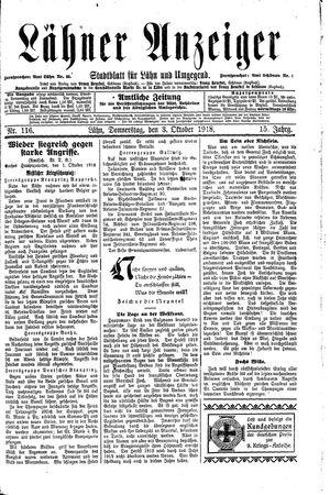 Lähner Anzeiger vom 03.10.1918