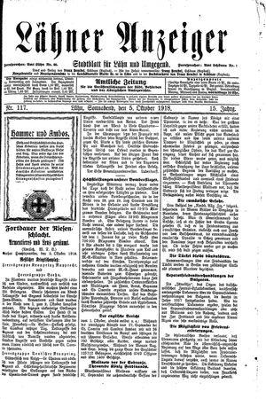 Lähner Anzeiger vom 05.10.1918