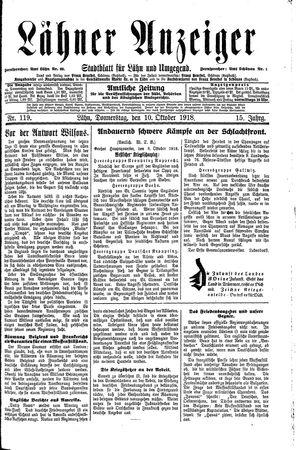 Lähner Anzeiger vom 10.10.1918