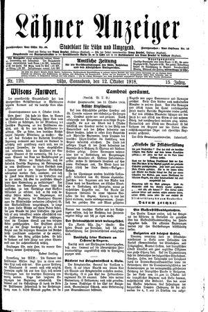 Lähner Anzeiger vom 12.10.1918