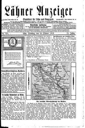 Lähner Anzeiger vom 15.10.1918