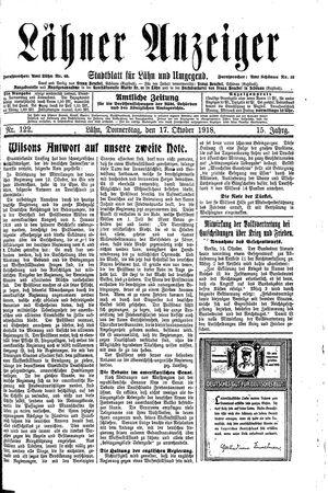 Lähner Anzeiger vom 17.10.1918