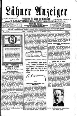 Lähner Anzeiger vom 22.10.1918