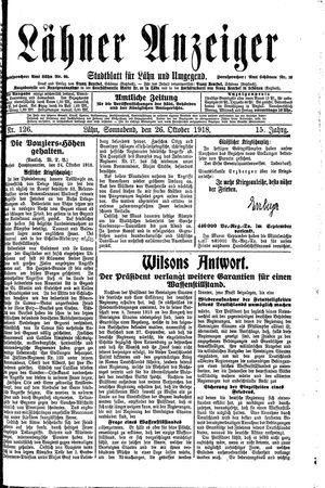 Lähner Anzeiger vom 26.10.1918