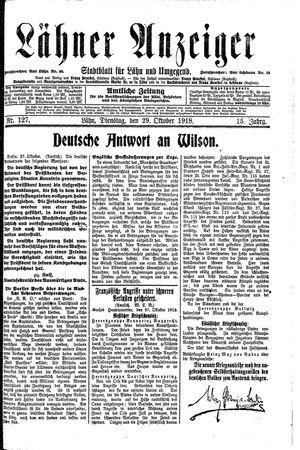 Lähner Anzeiger vom 29.10.1918