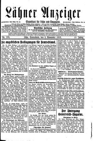 Lähner Anzeiger vom 02.11.1918