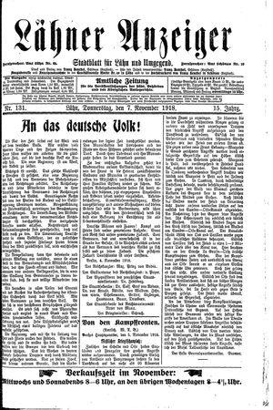 Lähner Anzeiger vom 07.11.1918
