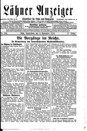 Lähner Anzeiger vom 09.11.1918