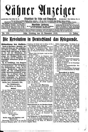 Lähner Anzeiger vom 12.11.1918