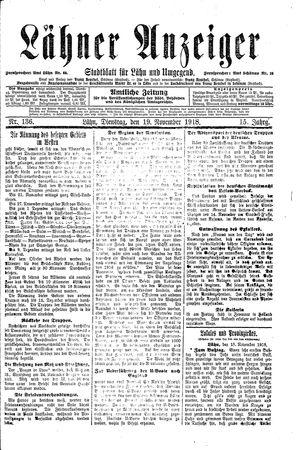 Lähner Anzeiger vom 19.11.1918