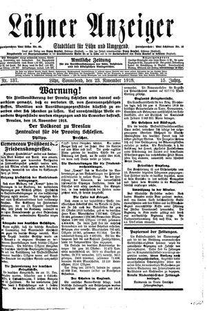 Lähner Anzeiger vom 23.11.1918