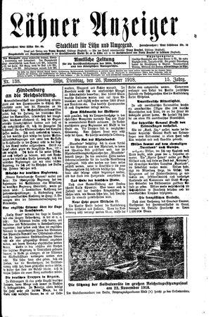 Lähner Anzeiger vom 26.11.1918