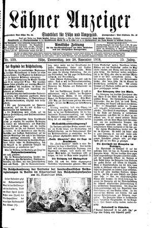 Lähner Anzeiger vom 28.11.1918