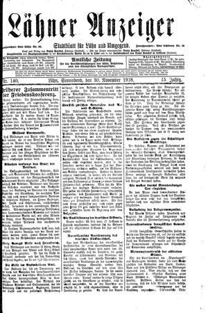 Lähner Anzeiger vom 30.11.1918