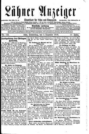 Lähner Anzeiger vom 05.12.1918