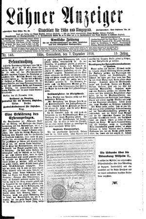 Lähner Anzeiger vom 07.12.1918