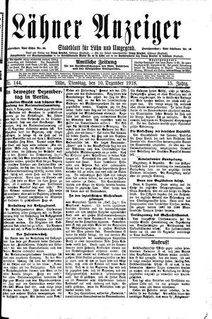 Lähner Anzeiger vom 10.12.1918