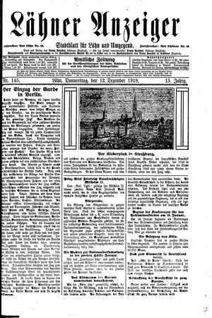 Lähner Anzeiger vom 12.12.1918