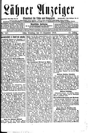Lähner Anzeiger vom 17.12.1918