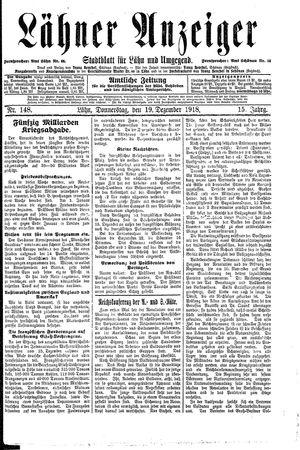 Lähner Anzeiger vom 19.12.1918