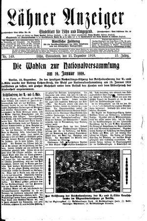 Lähner Anzeiger vom 21.12.1918