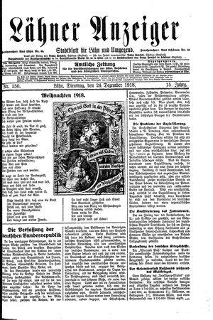 Lähner Anzeiger vom 24.12.1918
