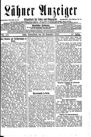 Lähner Anzeiger vom 28.12.1918