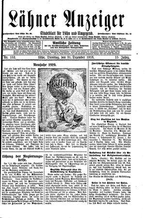 Lähner Anzeiger vom 31.12.1918