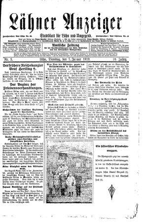 Lähner Anzeiger vom 07.01.1919