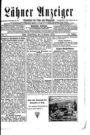 Lähner Anzeiger vom 09.01.1919