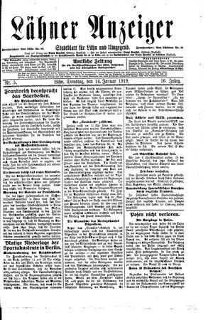 Lähner Anzeiger vom 14.01.1919