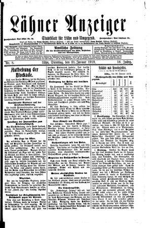 Lähner Anzeiger vom 21.01.1919