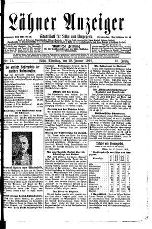 Lähner Anzeiger vom 28.01.1919