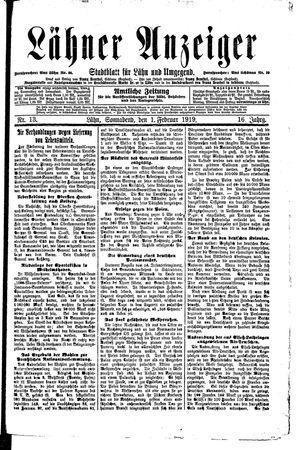 Lähner Anzeiger vom 01.02.1919