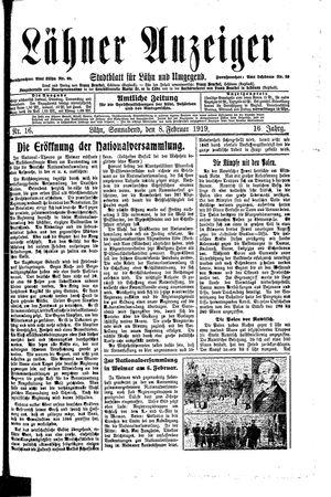 Lähner Anzeiger vom 08.02.1919