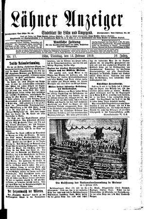Lähner Anzeiger vom 11.02.1919