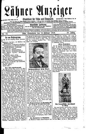 Lähner Anzeiger vom 15.02.1919
