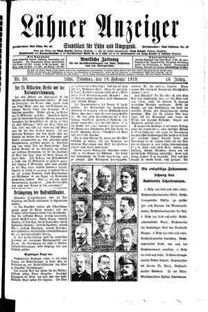 Lähner Anzeiger vom 18.02.1919