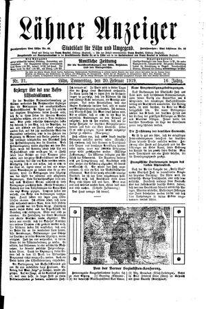 Lähner Anzeiger vom 20.02.1919