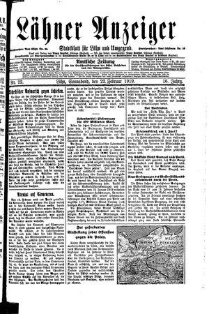 Lähner Anzeiger vom 22.02.1919