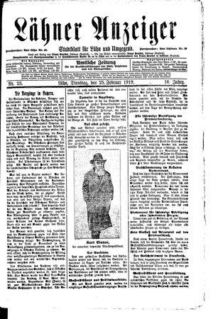 Lähner Anzeiger vom 25.02.1919