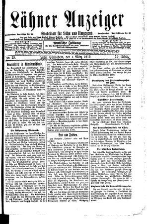 Lähner Anzeiger vom 01.03.1919