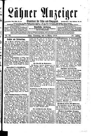 Lähner Anzeiger vom 04.03.1919