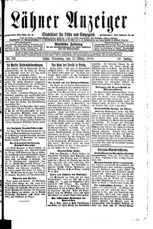 Lähner Anzeiger vom 11.03.1919