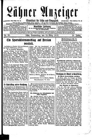 Lähner Anzeiger vom 13.03.1919