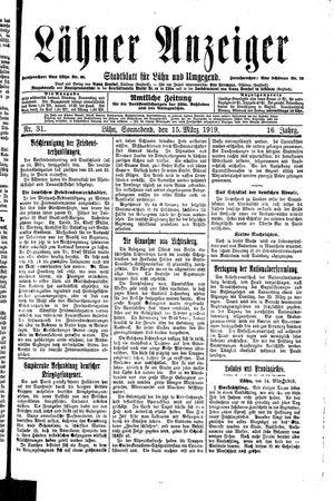 Lähner Anzeiger on Mar 15, 1919