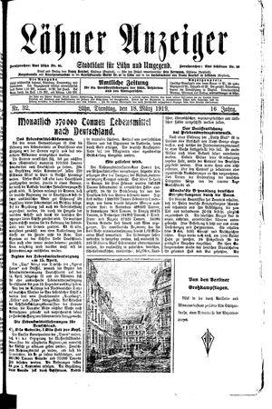 Lähner Anzeiger vom 18.03.1919