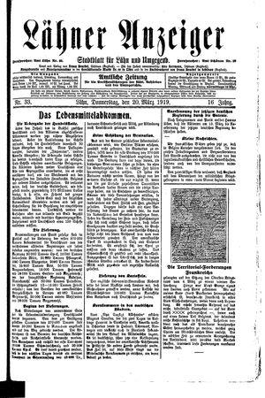 Lähner Anzeiger vom 20.03.1919