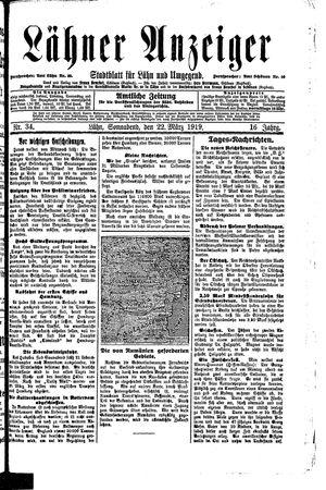 Lähner Anzeiger vom 22.03.1919