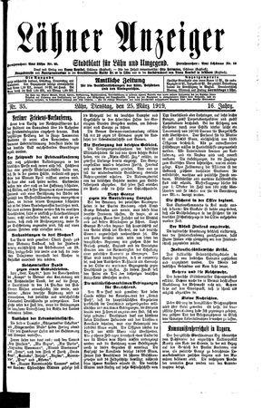 Lähner Anzeiger vom 25.03.1919